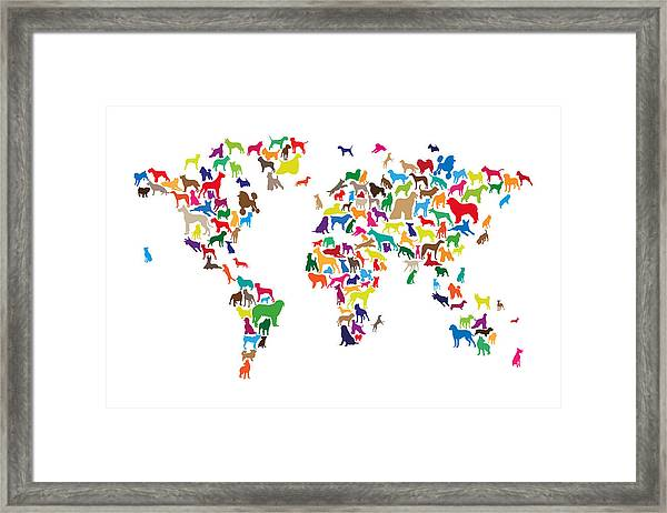 Dogs Map Of The World Map Framed Print