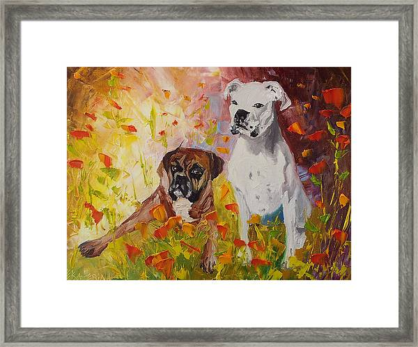 Dogs Painting Fine Art By Ekaterina Chernova Framed Print