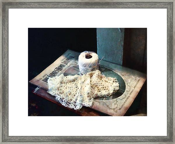 Doily And Crochet Thread Framed Print