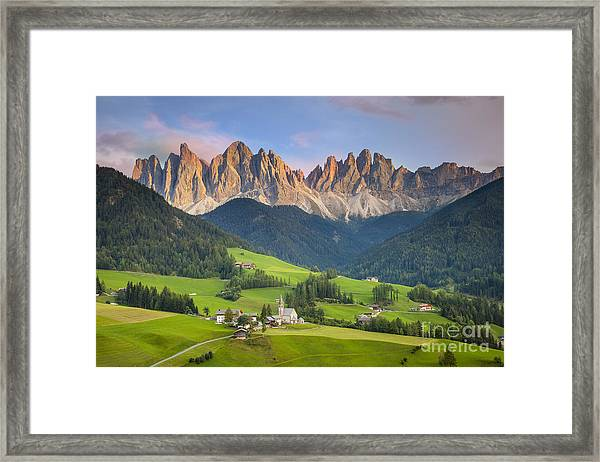 Framed Print featuring the photograph Dolomites From Val Di Funes by Brian Jannsen