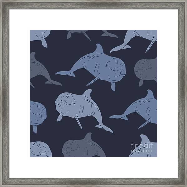 Dolphin Seamless Vector Pattern Framed Print