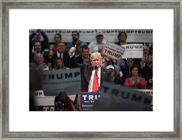 Donald Trump Holds Campaign Rally In North Carolina Framed Print by Sean Rayford