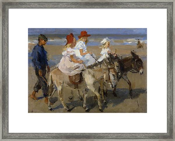 Donkey Rides Along The Beach Framed Print