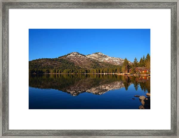 Donner Lake Cabin Reflection Framed Print