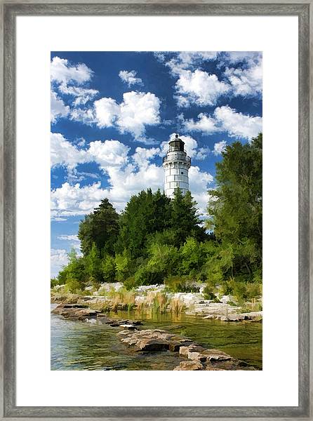 Cana Island Lighthouse Cloudscape In Door County Framed Print