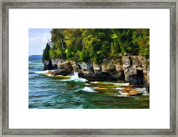 Door County Cave Point Cliffs Framed Print