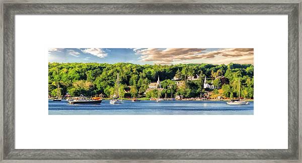 Door County Ephraim Harbor Sunset  Panorama Framed Print