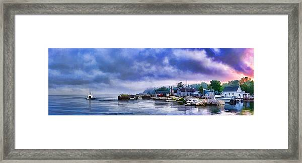 Door County Gills Rock Morning Catch Panorama Framed Print