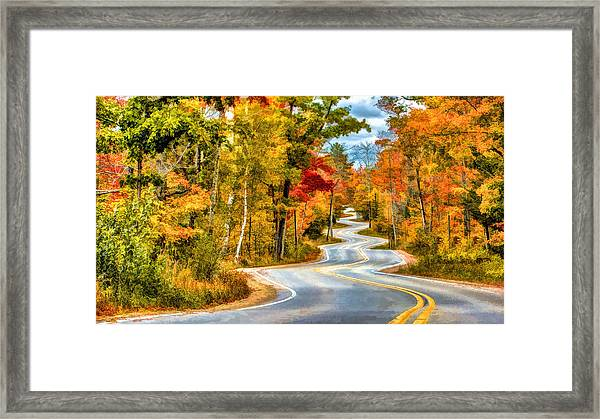 Door County Road To Northport In Autumn Framed Print