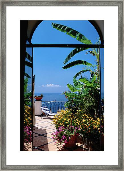 Doorway To Terrace At Hotel Punta Framed Print