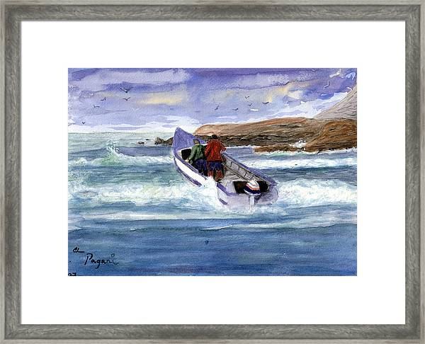 Dory Boat Heading To Sea Framed Print