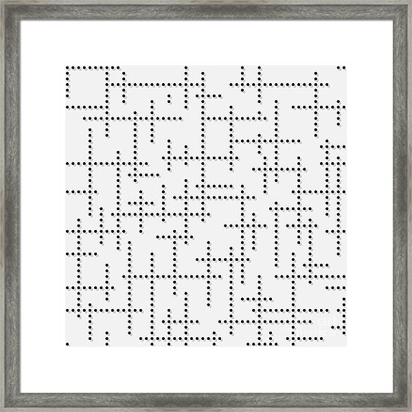 Dotted Background With Black Dots On Framed Print