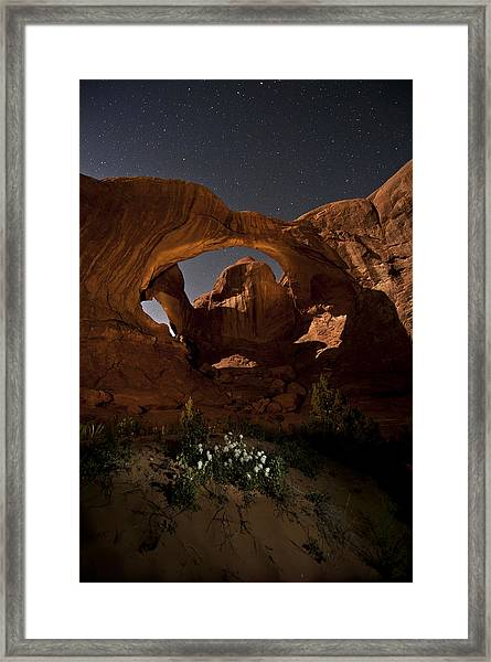 Double Arch In The Moonlight Framed Print