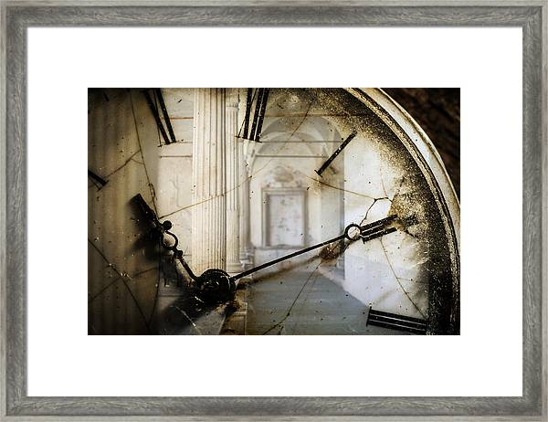 Double Exposure Of Antique Pocket Watch And Old Architecture Framed Print by Ilbusca