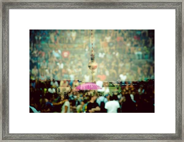Double Exposure Of Crowd And Communications Tower Framed Print by Thorsten Gast / EyeEm