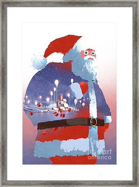 Double Exposure Of Santa Claus And Framed Print