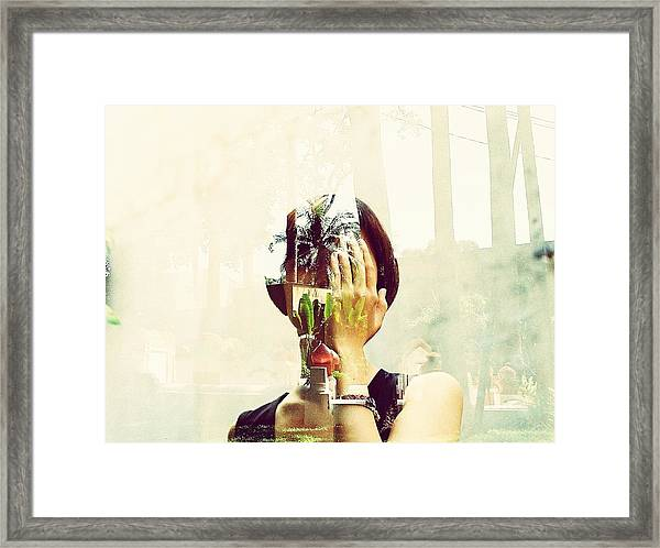 Double Exposure Of Woman And Trees With Reflection Framed Print by Quan Tran Minh / EyeEm