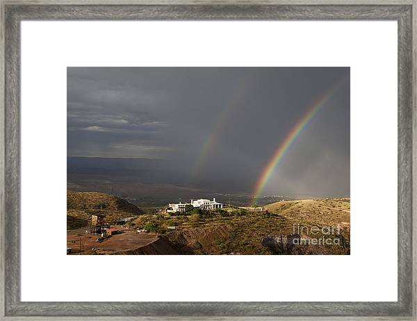 Double Rainbow And Jerome State Park Framed Print