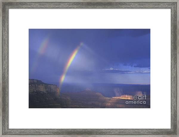 Double Rainbow At Cape Royal Grand Canyon National Park Framed Print