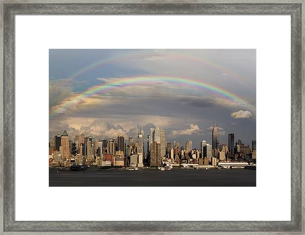 Framed Print featuring the photograph Double Rainbow Over Nyc by Susan Candelario
