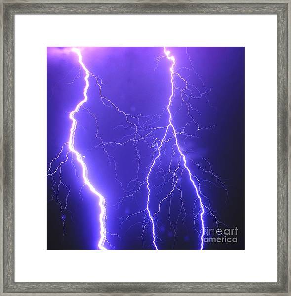 Double Triple Blue Lightning Framed Print