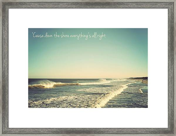 Down The Shore Seaside Heights Vintage Quote Framed Print