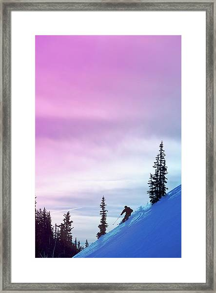 Downhill Skier At Alta Ski Resort Framed Print