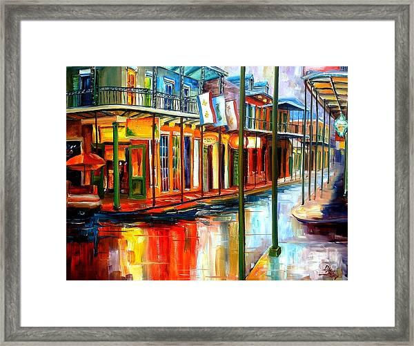 Downpour On Bourbon Street Framed Print