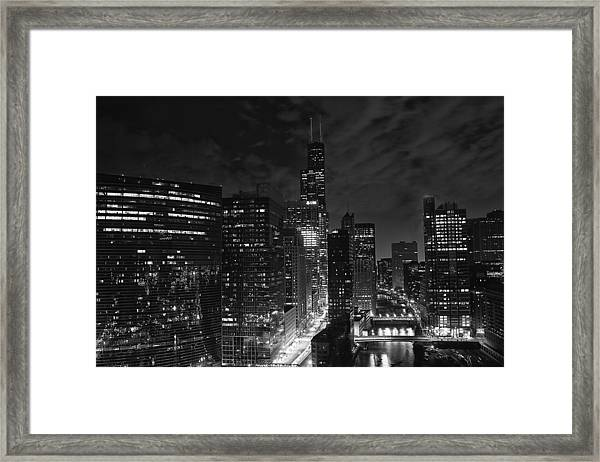 Downtown Chicago At Night Framed Print