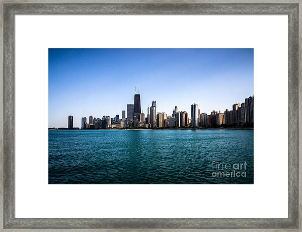 Downtown City Buildings In The Chicago Skyline Framed Print