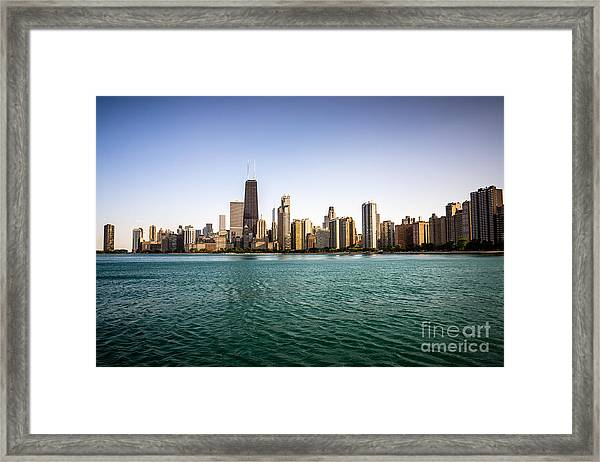 Downtown City Buildings Skyline In Chicago Framed Print