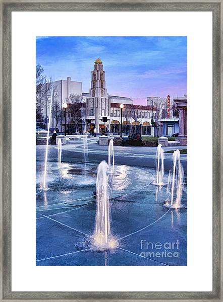Downtown City Plaza Chico California Framed Print