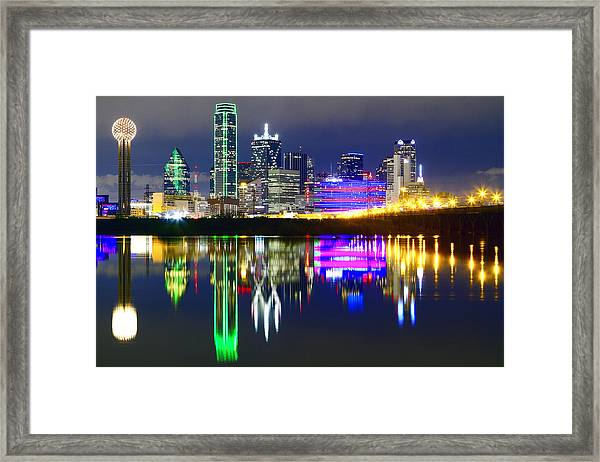 Downtown Dallas Skyline Reflections Framed Print