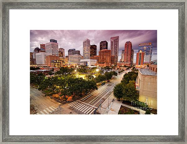 Downtown Houston Skyline During Twilight Framed Print