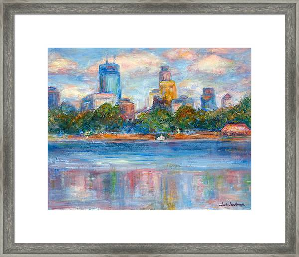 Downtown Minneapolis Skyline From Lake Calhoun II - Or Commission Your City Painting Framed Print