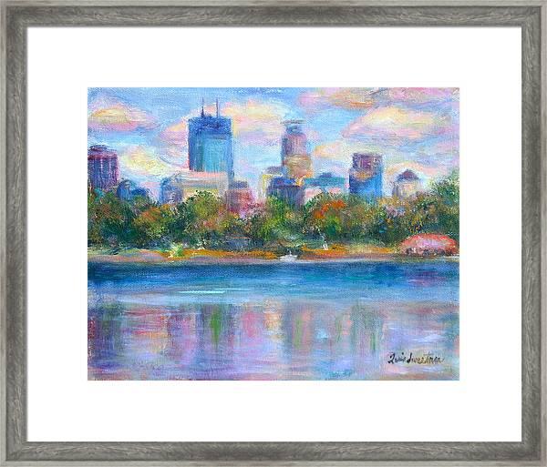 Downtown Minneapolis Skyline From Lake Calhoun Framed Print