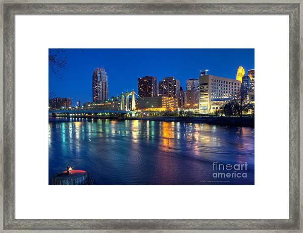 Downtown Minneapolis Skyline Hennepin Avenue Bridge Framed Print