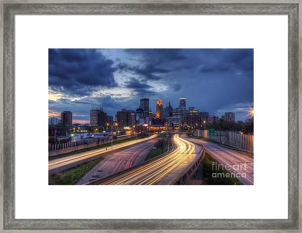 Downtown Minneapolis Skyline On 35 W Sunset Framed Print