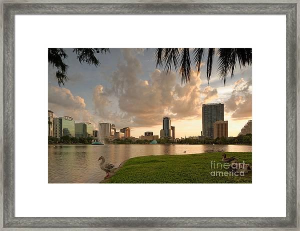 Downtown Orlando Skyline Lake Eola Sunset Framed Print