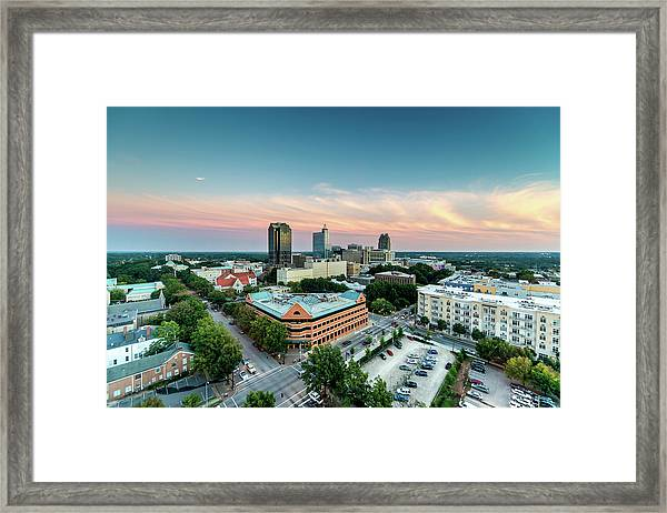 Downtown Raleigh Twilight, North Framed Print