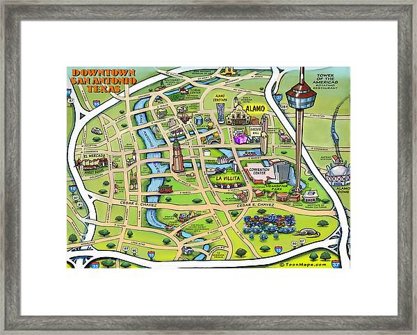 Downtown San Antonio Texas Cartoon Map Framed Print