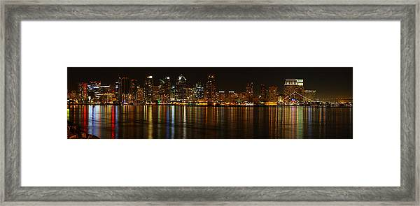 Downtown San Diego At Night From Harbor Drive Framed Print