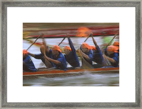 Dragon Boat Racing Thailand Framed Print by Richard Berry