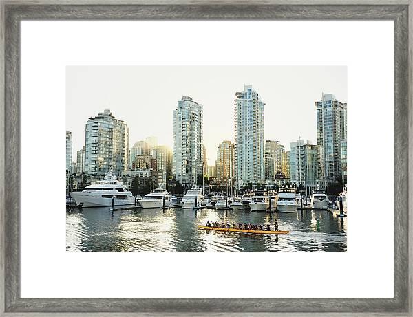 Dragon Boating In Vancouver Framed Print