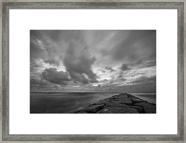 Dramatic Skies Over Galveston Jetty Framed Print