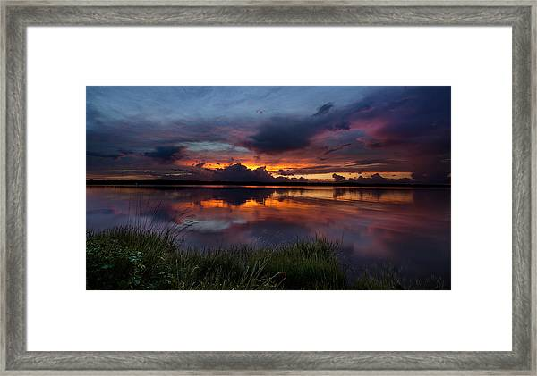 Dramatic Sunset At The Lake Framed Print