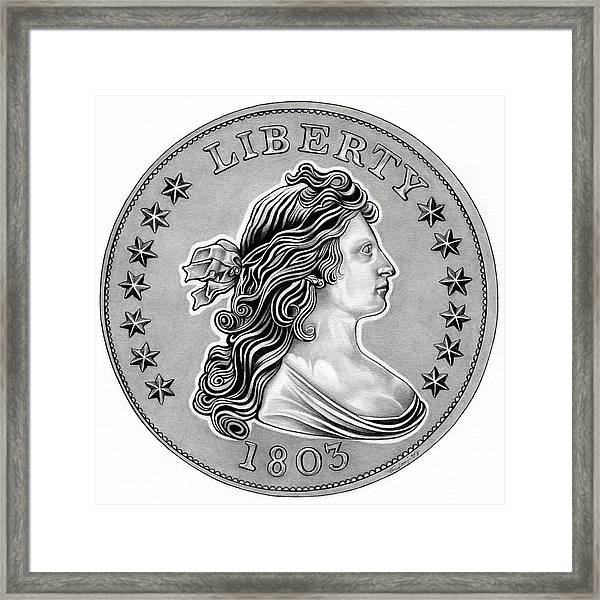 Draped Bust Liberty Framed Print