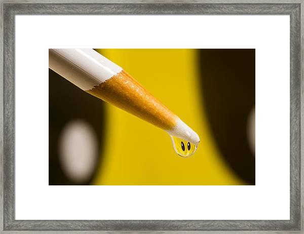 Happy Water Drop Pencil Framed Print