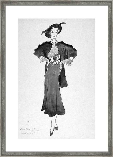 Drawing Of Model Wearing Marcel Rochas Dress Framed Print
