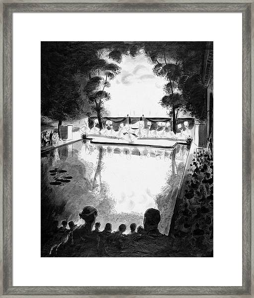 Drawing Of The Gala Blanc At The Fauchier-magnan Framed Print by Jean Pages